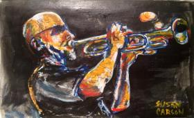 TRUMPETER. Acrylic and pen on Bristol. 5x7in. $100. This was something I started in my sketchbook while watching a band on tv. I just loved the reflection of the lights on skin and instruments. I don't even remember now who it was.