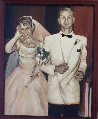 1953. Oil on canvas board. 18x24in. SOLD. This was done from a small black and white photo of my parents taken at their wedding in 1953. I did this for their 50th anniversary. I believe it is somewhere in Wisconsin now.