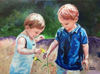 BOYS. Acrylic on canvas. 8x10in. SOLD. This was a commission, done from a photograph. I enjoyed doing this one, as I don't often paint children. You can just feel their innocense and light.
