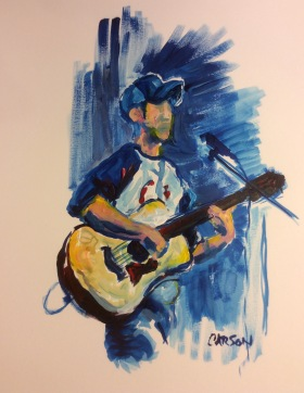 ACOUSTIC BLUE. Acrylic on Bristol. 11x14in. $154. This is of a man pursuing his dream and sharing his gift. I used blue to indicate his authenticity. He's the real deal, Luke Domozick.