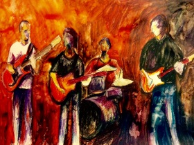 FRIDAY NIGHT GIG. Watercolor and colored pencil on paper. 11x14in. $154. I hope you can feel the hot lights and energy of a band playing for a Friday night dance crowd here.