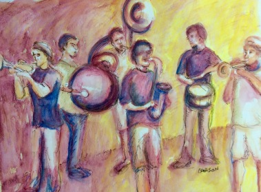 FUNKY DAWGZ. Watercolor, colored pencil and pen on paper. 11x14in. $100. I captured this as the band was playing outside at the Sono Arts Festival in Norwalk, CT. These guys have a great energy.