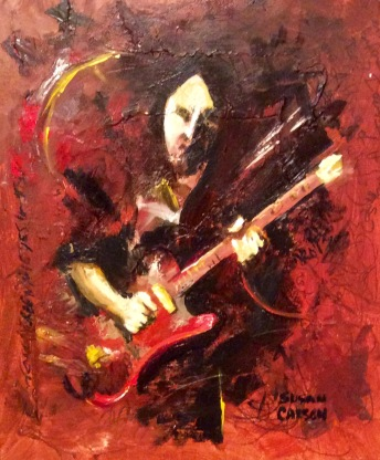 GUITAR MAN. Acrylic on Canvas board. 11x14in. $154. This is an action impression of Bob Feather, a real guitar man in New England. This was based on a calm and tidy black and white photo he shared with me. This is how it feels to me when he is playing. So much power and energy and life.