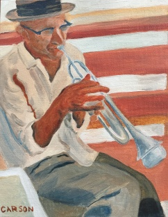 JAZZ MAN. Oil on canvas board. 9x11in. SOLD. This was a study I did of a man playing on a park bench in Columbus, Ohio. I had intended to finish it with more detail and deeper colors, but people seemed to like it just how it was, so I stopped.