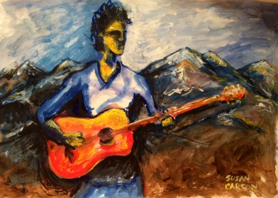 MOUNTAIN MUSIC. Acrylic on Bristol. 11x14in. $75. I did this for a flyer to advertise a music festival in Colorado.