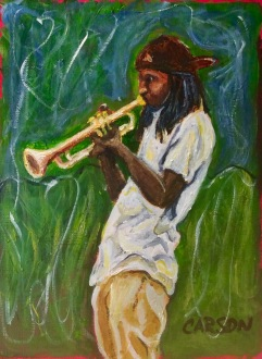 NEW ORLEANS TRUMPET. Acrylic on canvas paper. 5x7in. $25. My friend Curtis and his wife Valerie saw this guy playing on the street in New Orleans and Curtis sent me a picture as inspiration for my painting. This guy has great slinky angles and a fluid posture. This is hanging on my refrigerator right now.