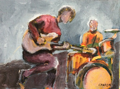 ON STAGE. Acrylic on canvas paper. 5x7in. $25. This was more of a rough sketch in acrylic of the son of my brother's best friend. I liked the personality and movement here but haven't created a finished work from it yet. Shout out to Greg & Karen!