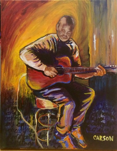 OPEN MIC. Acrylic on canvas. 11x14in. $250. This is a local superstar, Kwame Henry Jones, performing at a nice local spot. I loved the lighting here.