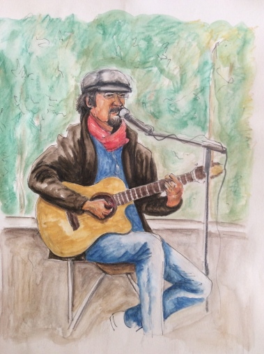 PARIS PERFORMER. Watercolor pencil on paper. 11x14in. $150. I took the reference photo for this work of a man playing outside on a bridge in Paris. He is apparently somewhat of an icon around there. My friend Kathy knows of him from when she lived there and has pictures of him.