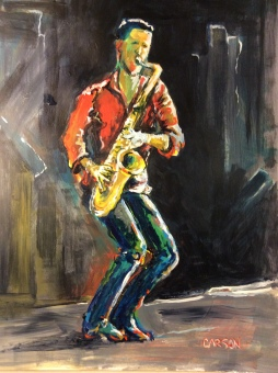 SAX MAN. Acrylic on Bristol. 11x14in. $160. This one is done from a photo I took on my iPhone at an O.A.R. concert. I thought the guy had great lines and presence. He was very saxy.