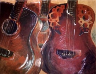 THREE AMIGOS. Acrylic on canvas. 18x24in. SOLD. These are 3 of my own guitars.
