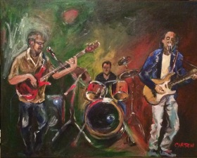 VICTOR'S BAND. Acrylic on canvas. 16x20in. SOLD. This was a commission I really enjoyed doing. It was a gift for one of the band members, Victor Campos.