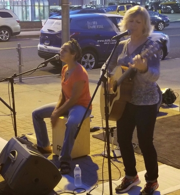 Susan and Laura performing at First Friday Norwalk CT. 10.6.2017. Photo credit Bob DAprile