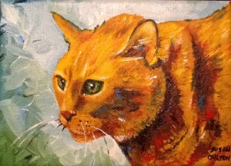 FRANKLIN. Acrylic on canvas. 5x7in. SOLD. This was my mother's cat. His name was Franklin. There is a glow from where he is looking out the window at the Nevada sun.