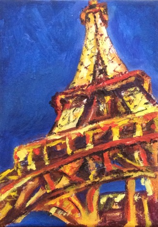 TOUR EIFFEL Acrylic on canvas. 5x7in. $70. This is done from photos I took at night in Paris. I wanted to make it bold and simple. It is a beautiful sight and seemed impossible to photograph and do it justice.