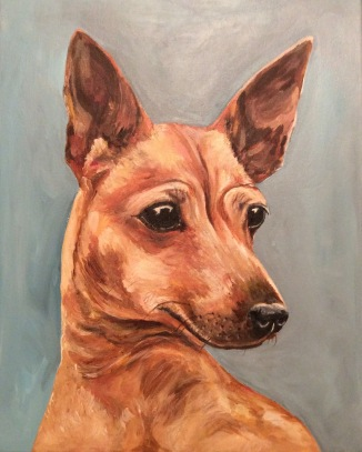 JOEY. Acrylic on canvas. 16x20in. $640. This is a classic portrait of a really special little dog with a big personality.