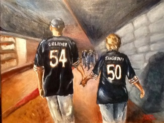 OUR TEAM. Acrylic on canvas. 16x20in. SOLD. I did this from an iPhone picture of my brother and his wife walking into the Bears game at Giants Stadium. I just thought it was a cute sentiment with them wearing their team jerseys and holding hands as they enter the rival's territory. Go Team Steve and Liz!