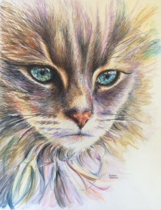 THOSE EYES. Watercolor and colored pencil on paper. 11x14in. $308. In this one I wanted to focus on the beautiful eyes and expression. I loved playing with the color here.