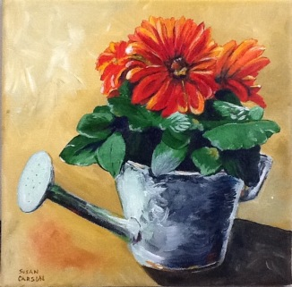 WATERING CAN. Acrylic on canvas. 10x10in. SOLD. I did this from a picture I snapped of some flowers on my front doorstep during a sunny afternoon.