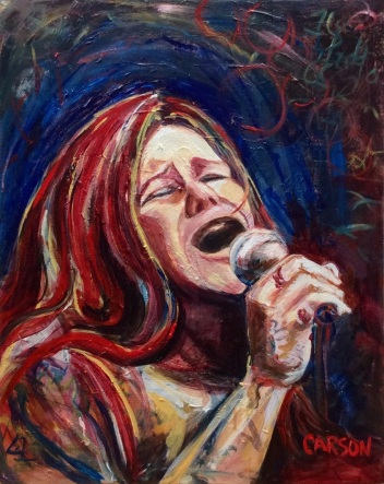NOTHING LEFT TO LOSE. Acrylic on canvas. 16x20in. $640. Based on a few images of Janis Joplin and my own interpretation. She was electric.