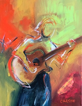 STRUM. Acrylic on canvas. 14x11in. $300.