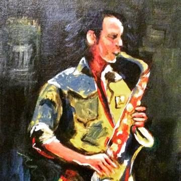 SAX. Acrylic on canvas board. 8x10in. SOLD.