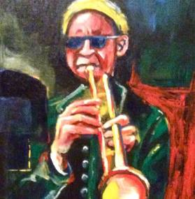 TRUMPETER. Acrylic on canvas board. 8x10in. SOLD.